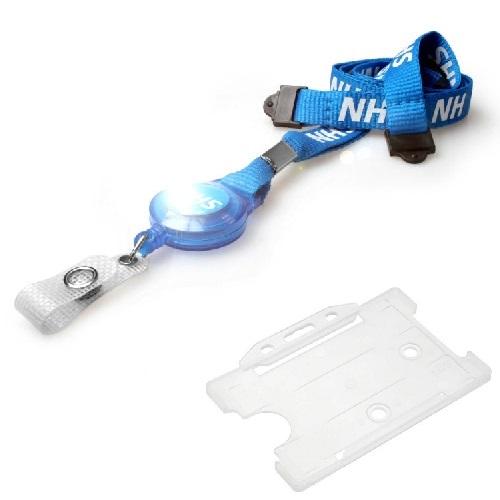 NHS Badge Reel Lanyard with Light Blue Landscape Card Holder
