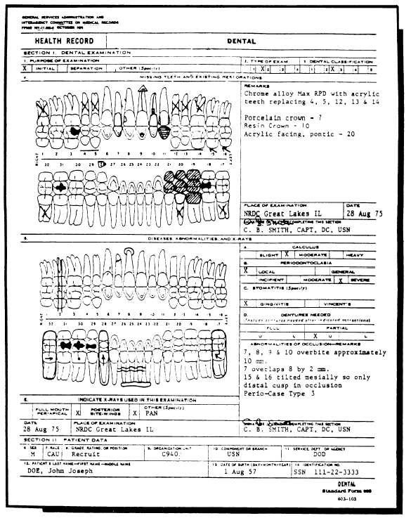 Figure 10-14.Standard Form 603, Health Record, Dental (Front).
