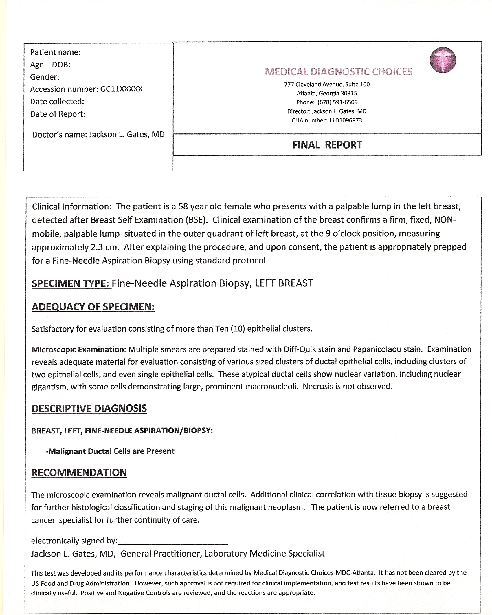 Aspiration Resume Example Resume Example Cytology Report