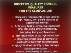 "Quality Control Measure in the Laboratory--THE STANDARDS! The STANDARDS OF QUALITY LAB TESTING ARE Only assured by having one, ""Walk me through this Test, "" to show QUALITY OF ALL THREE PHASES OF TESTING: 1) Pre-Analytical; 2) Analytical; and 3) Post-Analytical."