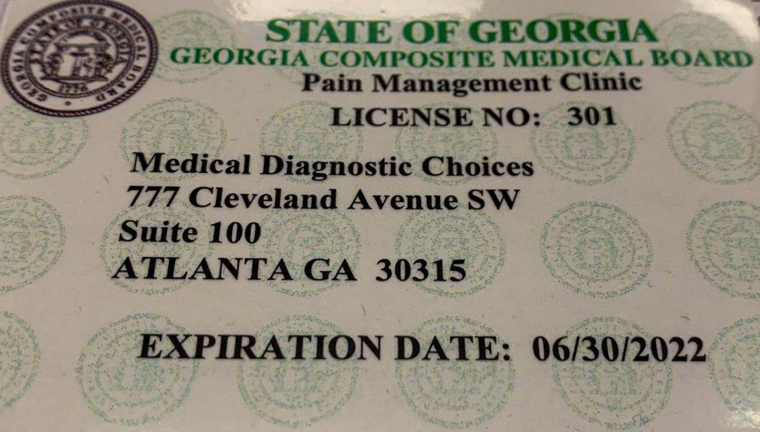 Pain Management Clinic License