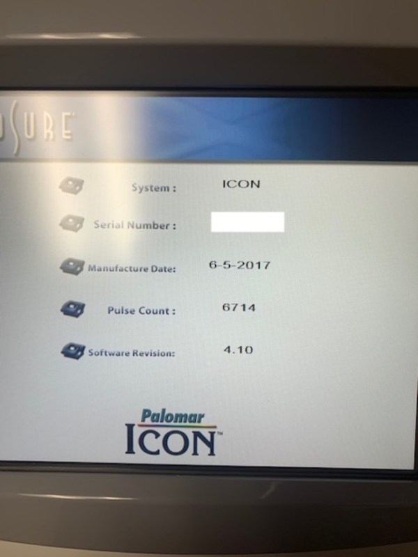 2017 Cynosure Palomar Icon with MaxG, MaxR, MaxYs & 1540 Fractional - System Pulses Only 6,714