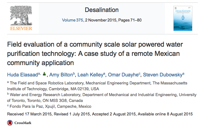 Field evaluation of a community scale solar powered water purification technology: A case study of a remote Mexican community application // Desalination