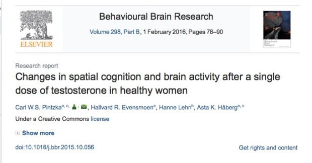 Pintzka C. W. S. et al. Changes in spatial cognition and brain activity after a single dose of testosterone in healthy women //Behavioural brain research. – 2016. – Т. 298. – С. 78-90.