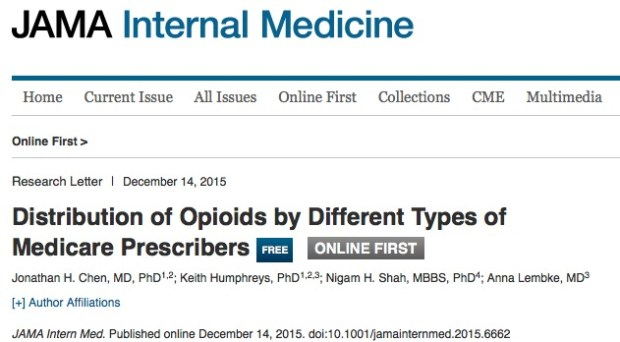 Chen, Jonathan H.; Humphreys, Keith; Shah, Nigam H.; Lembke, Anna Distribution of Opioids by Different Types of Medicare Prescribers // JAMA Internal Medicine - 2015 - p. 1-3