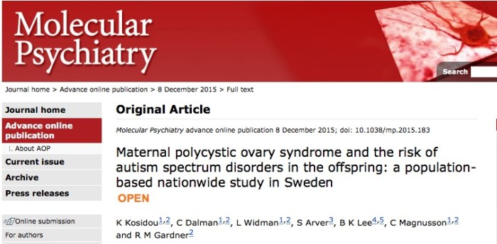 Kosidou K. et al. Maternal polycystic ovary syndrome and the risk of autism spectrum disorders in the offspring: a population-based nationwide study in Sweden //Molecular Psychiatry. – 2015.