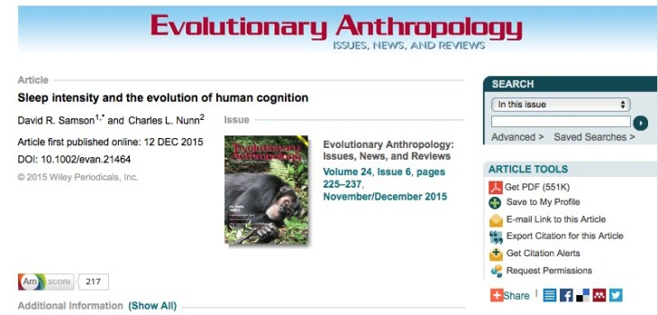 David R. Samson and Charles L. Nunn Sleep intensity and the evolution of human cognition // Evolutionary Anthropology - 2015.