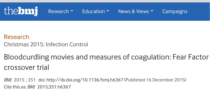 Nemeth, Banne; Scheres, Luuk J J; Lijfering, Willem M; Rosendaal, Frits R (2015) Bloodcurdling movies and measures of coagulation: Fear Factor crossover trial // BMJ — vol. 351 (dec16_5) - p. h6367