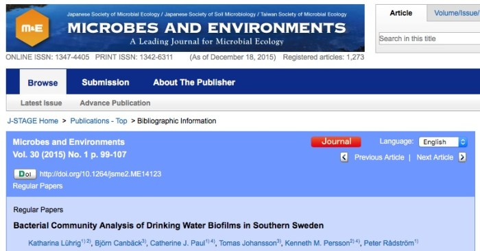 Lührig K. et al. Bacterial Community Analysis of Drinking Water Biofilms in Southern Sweden //Microbes and Environments. – 2015. – Т. 30. – №. 1. – С. 99.
