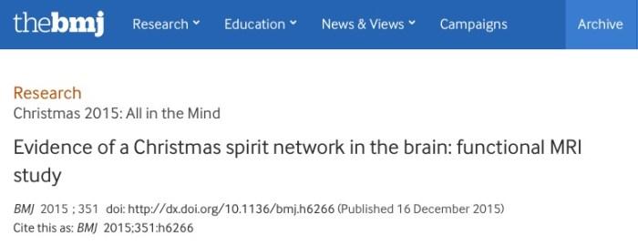 Hougaard, Anders; Lindberg, Ulrich; Arngrim, Nanna; Larsson, Henrik B W; Olesen, Jes et al. (2015) Evidence of a Christmas spirit network in the brain: functional MRI study // BMJ - vol. 351 (dec16_15) - p. h6266-