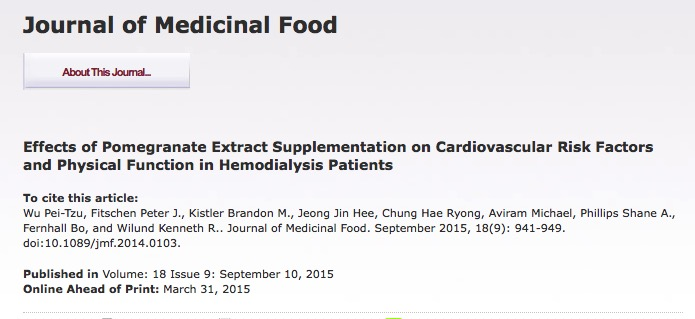 Wu P. T. et al. Effects of Pomegranate Extract Supplementation on Cardiovascular Risk Factors and Physical Function in Hemodialysis Patients //Journal of medicinal food. – 2015.