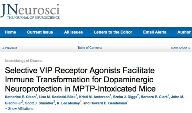 Katherine E. Olson et al. Selective VIP receptor agonists facilitate immune transformation for dopaminergic neuroprotection in MPTP-intoxicated mice // The Journal of Neuroscience - 2015
