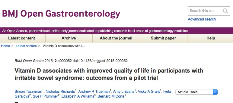 Tazzyman, Simon; Richards, Nicholas; Trueman, Andrew R; Evans, Amy L; Grant, Vicky A et al. (2015) Vitamin D associates with improved quality of life in participants with irritable bowel syndrome: outcomes from a pilot trial // BMJ Open Gastroenterology