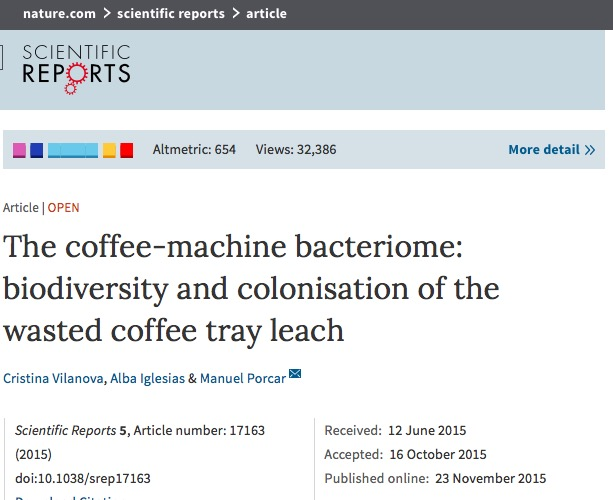 Vilanova C., Iglesias A., Porcar M. The coffee-machine bacteriome: biodiversity and colonisation of the wasted coffee tray leach //Scientific reports. – 2015. – Т. 5.