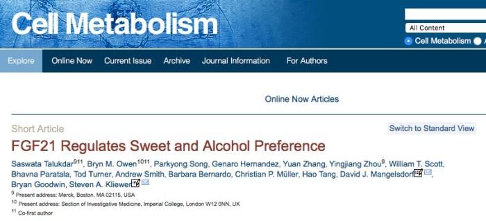 Talukdar, Saswata; Owen, Bryn M.; Song, Parkyong; Hernandez, Genaro; Zhang, Yuan et al. (2015) FGF21 Regulates Sweet and Alcohol Preference // Cell Metabolism