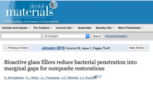 Khvostenko D. et al. Bioactive glass fillers reduce bacterial penetration into marginal gaps for composite restorations //Dental Materials. – 2016. – Т. 32. – №. 1. – С. 73-81.
