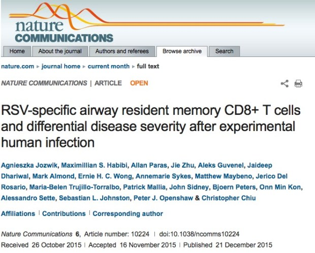 Jozwik A. et al. RSV-specific airway resident memory CD8+ T cells and differential disease severity after experimental human infection //Nature communications. – 2015. – Т. 6.