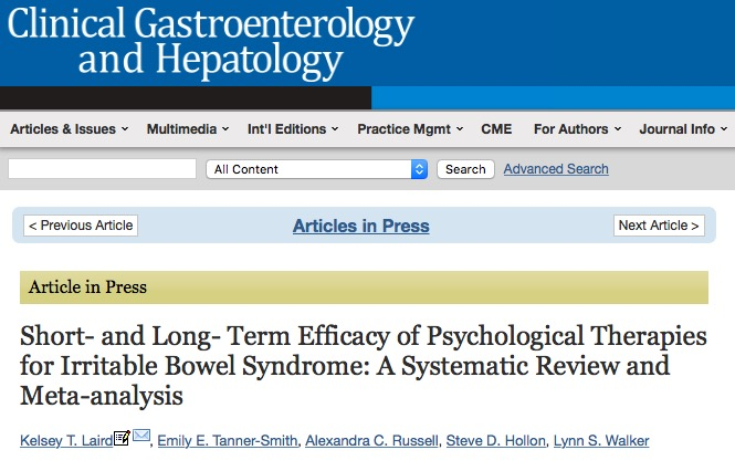 Laird K. T. et al. Short-and Long-Term Efficacy of Psychological Therapies for Irritable Bowel Syndrome: A Systematic Review and Meta-analysis //Clinical Gastroenterology and Hepatology. – 2015.