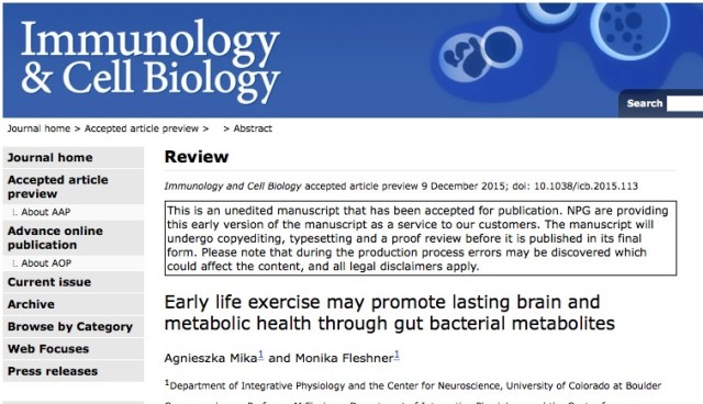 Mika A., Fleshner M. Early life exercise may promote lasting brain and metabolic health through gut bacterial metabolites //Immunology and cell biology. – 2015.