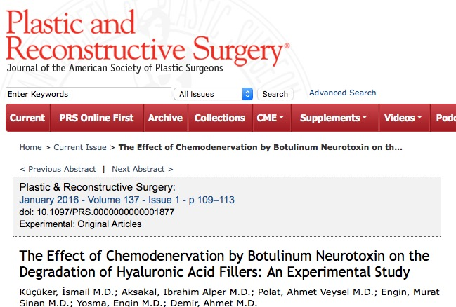Küçüker I. et al. The Effect of Chemodenervation by Botulinum Neurotoxin on the Degradation of Hyaluronic Acid Fillers: An Experimental Study //Plastic and reconstructive surgery. – 2016. – Т. 137. – №. 1. – С. 109-113