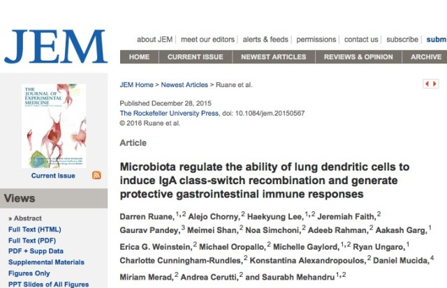 Ruane D. et al. Microbiota regulate the ability of lung dendritic cells to induce IgA class-switch recombination and generate protective gastrointestinal immune responses //The Journal of experimental medicine. – 2015. – С. jem. 20150567.