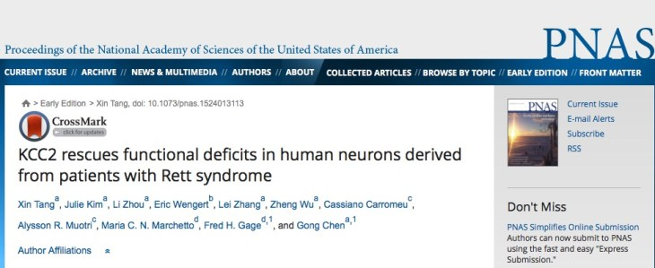 Tang X. et al. KCC2 rescues functional deficits in human neurons derived from patients with Rett syndrome //Proceedings of the National Academy of Sciences. – 2016. – С. 201524013.