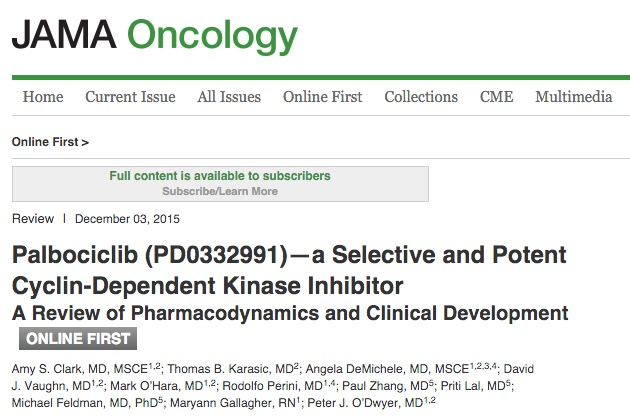 Clark A. S. et al. Palbociclib (PD0332991)—a Selective and Potent Cyclin-Dependent Kinase Inhibitor: A Review of Pharmacodynamics and Clinical Development //JAMA oncology. – 2015. – С. 1-8.