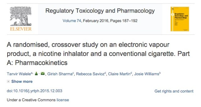 Walele T. et al. A randomised, crossover study on an electronic vapour product, a nicotine inhalator and a conventional cigarette. Part A: Pharmacokinetics //Regulatory Toxicology and Pharmacology. – 2015.