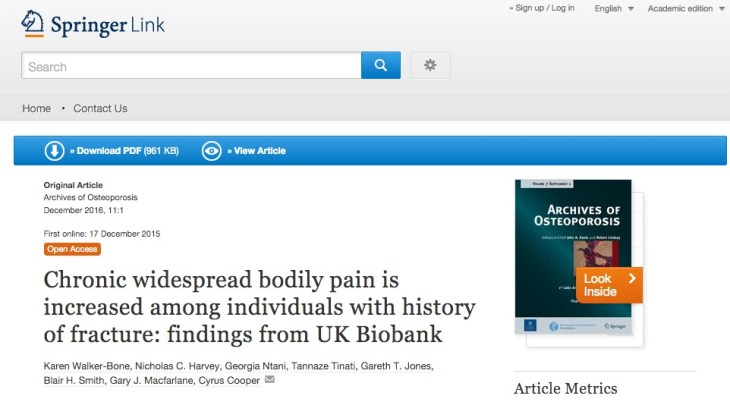 Walker-Bone K. et al. Chronic widespread bodily pain is increased among individuals with history of fracture: findings from UK Biobank //Archives of osteoporosis. – 2016. – Т. 11. – №. 1. – С. 1-10.