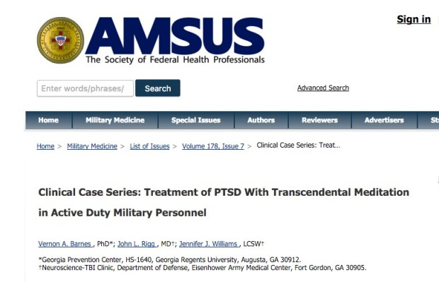 Barnes V. A. et al. Impact of Transcendental Meditation on Psychotropic Medication Use Among Active Duty Military Service Members With Anxiety and PTSD //Military Medicine. – 2016. – Т. 181. – №. 1. – С. 56-63.