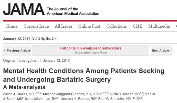 Dawes A. J. et al. Mental Health Conditions Among Patients Seeking and Undergoing Bariatric Surgery: A Meta-analysis //JAMA. – 2016. – Т. 315. – №. 2. – С. 150-163.