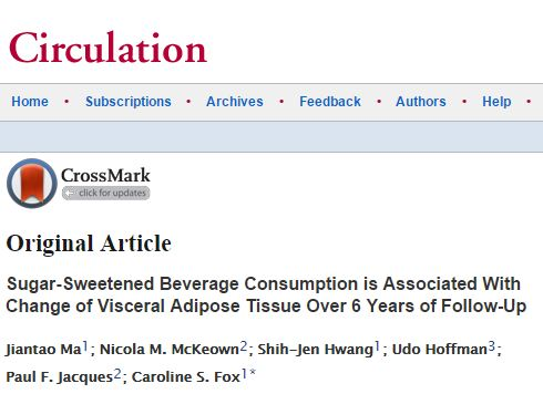 Ma J. et al. Sugar-Sweetened Beverage Consumption is Associated With Change of Visceral Adipose Tissue Over 6 Years of Follow-Up //Circulation. – 2016. – С. CIRCULATIONAHA. 115.018704.