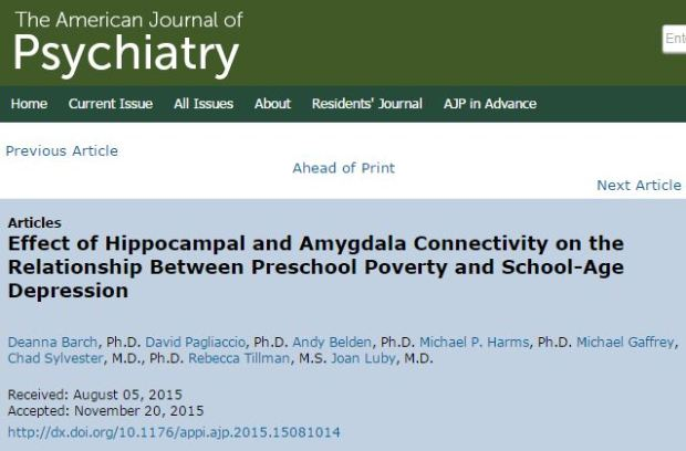 Barch D. et al. Effect of Hippocampal and Amygdala Connectivity on the Relationship Between Preschool Poverty and School-Age Depression //American Journal of Psychiatry. – 2016.