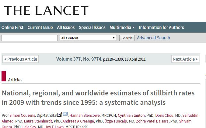 Cousens S. et al. National, regional, and worldwide estimates of stillbirth rates in 2009 with trends since 1995: a systematic analysis //The Lancet. – 2011. – Т. 377. – №. 9774. – С. 1319-1330.