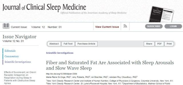 St-Onge M. P. et al. Fiber and Saturated Fat Are Associated with Sleep Arousals and Slow Wave Sleep //Journal of clinical sleep medicine: JCSM: official publication of the American Academy of Sleep Medicine. – 2015.