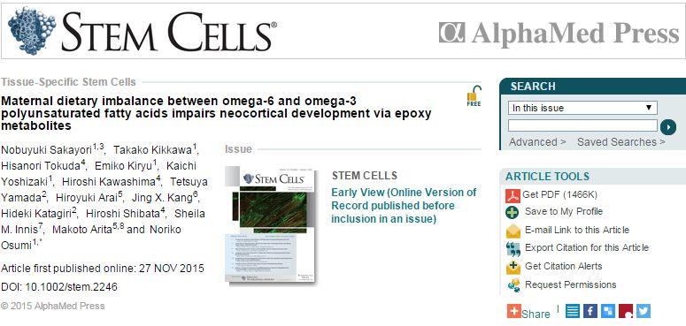 Sakayori N. et al. Maternal dietary imbalance between omega‐6 and omega‐3 polyunsaturated fatty acids impairs neocortical development via epoxy metabolites //STEM CELLS. – 2015.