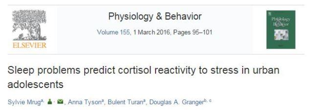 Mrug S. et al. Sleep problems predict cortisol reactivity to stress in urban adolescents //Physiology & behavior. – 2016. – Т. 155. – С. 95-101.