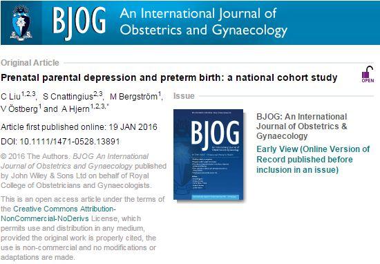 Liu, C; Cnattingius, S; Bergström, M; Östberg, V; Hjern, A (2016) Prenatal parental depression and preterm birth: a national cohort study. // BJOG : an international journal of obstetrics and gynaecology