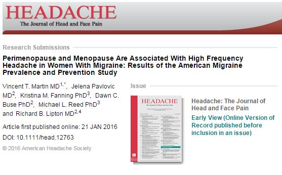 Perimenopause and Menopause Are Associated With High Frequency Headache in Women With Migraine ©
