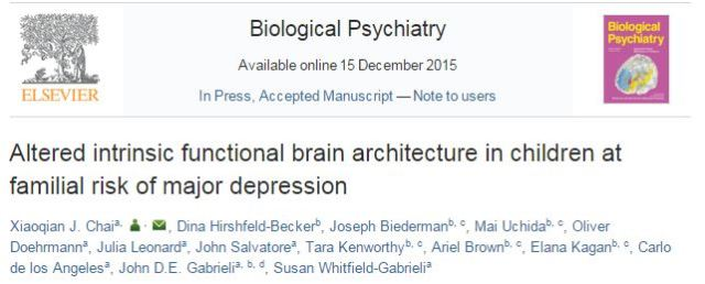 Altered intrinsic functional brain architecture in children at familial risk of major depression