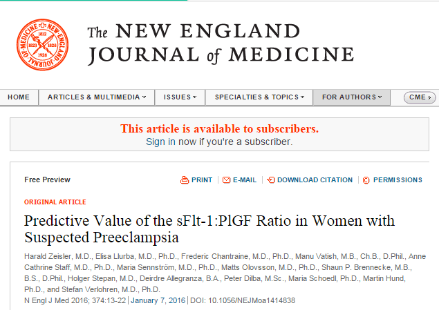 Predictive Value of the sFlt-1: PlGF Ratio in Women with Suspected Preeclampsia ©