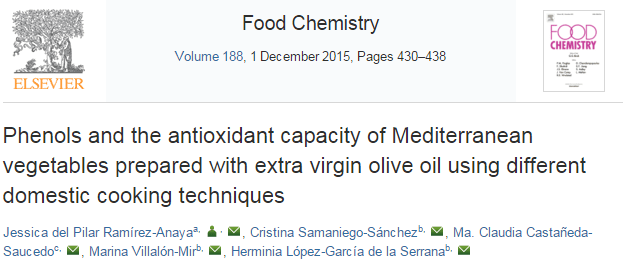 Phenols and the antioxidant capacity of Mediterranean vegetables prepared with extra virgin olive oil using different domestic cooking techniques ©
