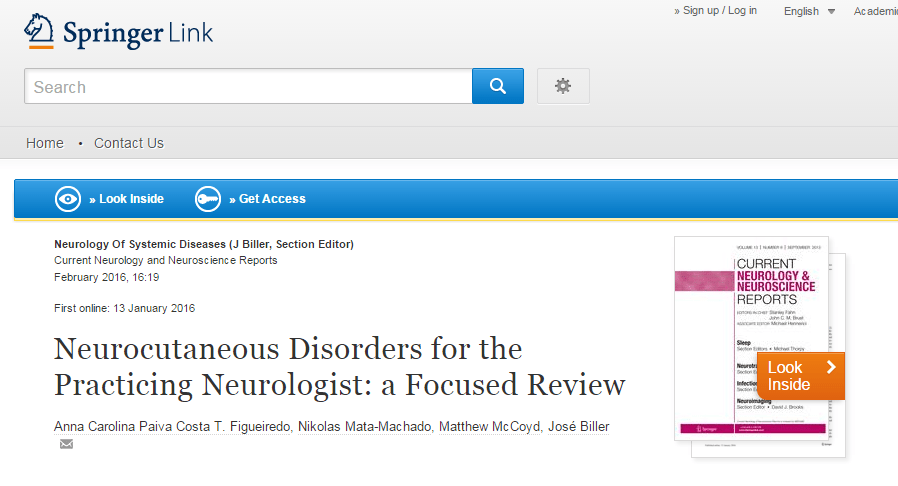 Neurocutaneous Disorders for the Practicing Neurologist: a Focused Review ©