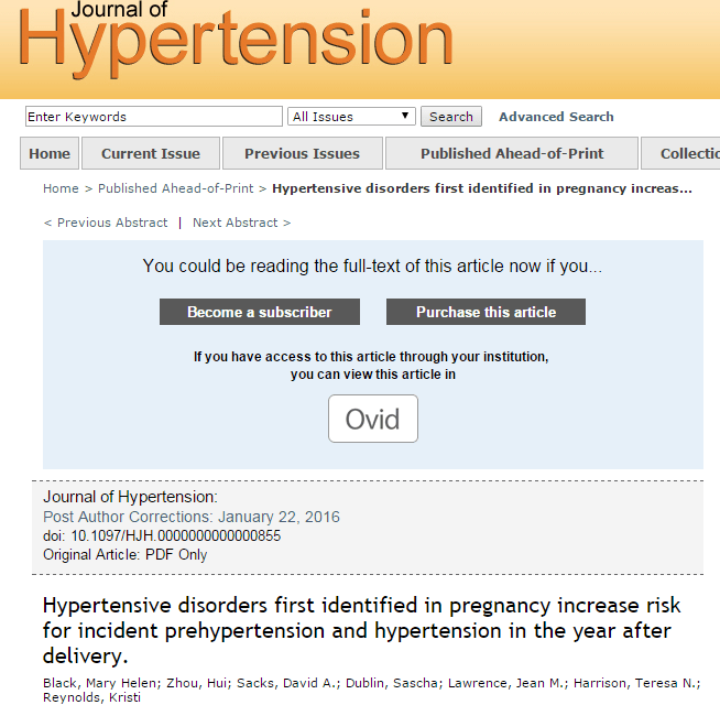 Hypertensive disorders first identified in pregnancy increase risk for incident prehypertension and hypertension in the year after delivery