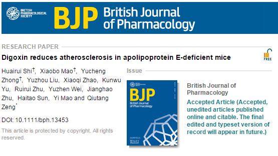 атеросклероз, дигоксин, холестерин, British journal of pharmacology