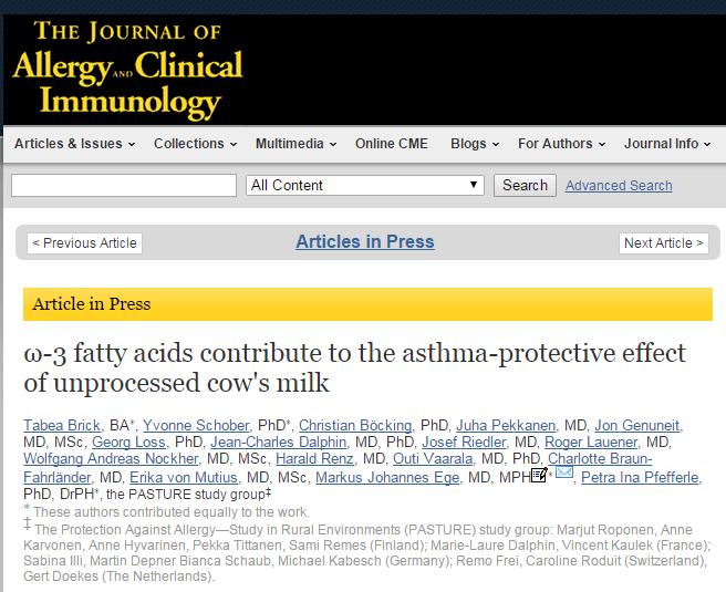 ω-3 fatty acids contribute to the asthma-protective effect of unprocessed cow's milk ©American Academy of Allergy, Asthma & Immunology