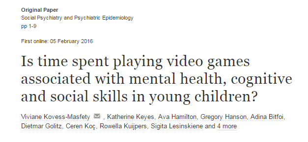 Is time spent playing video games associated with mental health, cognitive and social skills in young children