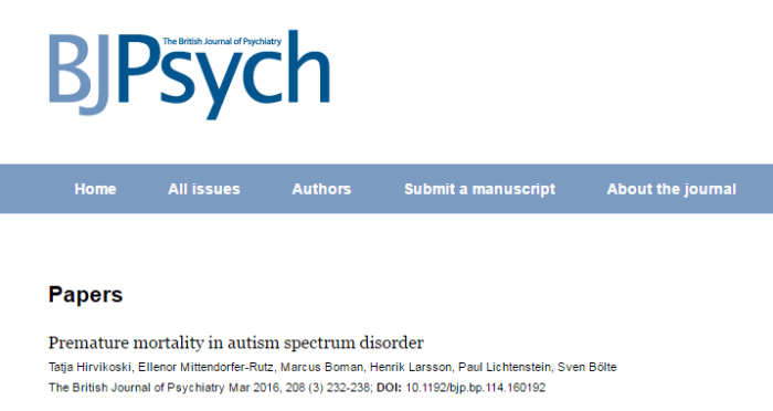 аутизм, The British Journal of Psychiatry