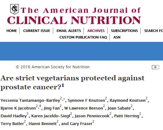 The American journal of clinical nutrition, рак предстательной железы, Вегетарианская диета,