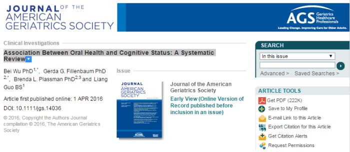 когнитивные функции, Journal of the American Geriatrics Society
